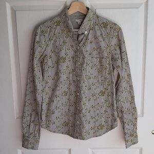 Odille Green Striped Eyelet Button Down Top Size 2